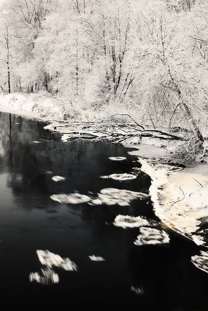 Winter River And Frost On Trees