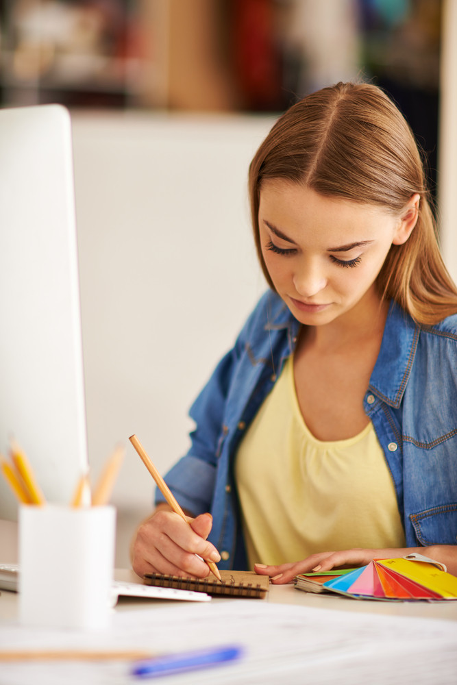 Portrait Of Pretty Student Of Design Faculty Making Sketch At Lesson
