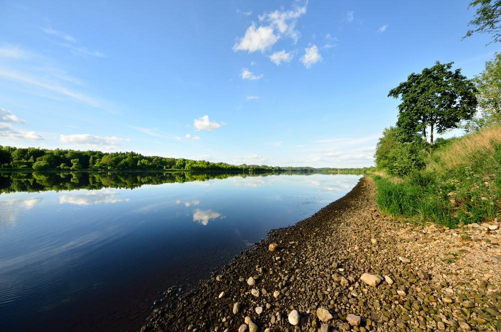 Daugava River With Reflection