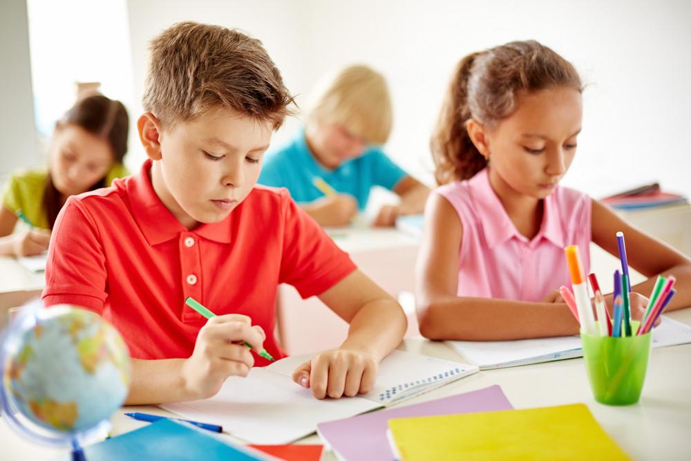 Several Classmates Drawing At Lesson