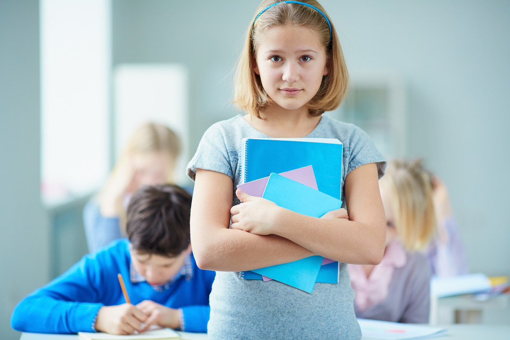 Portrait Of Diligent Schoolgirl Looking At Camera With Classmates On Background