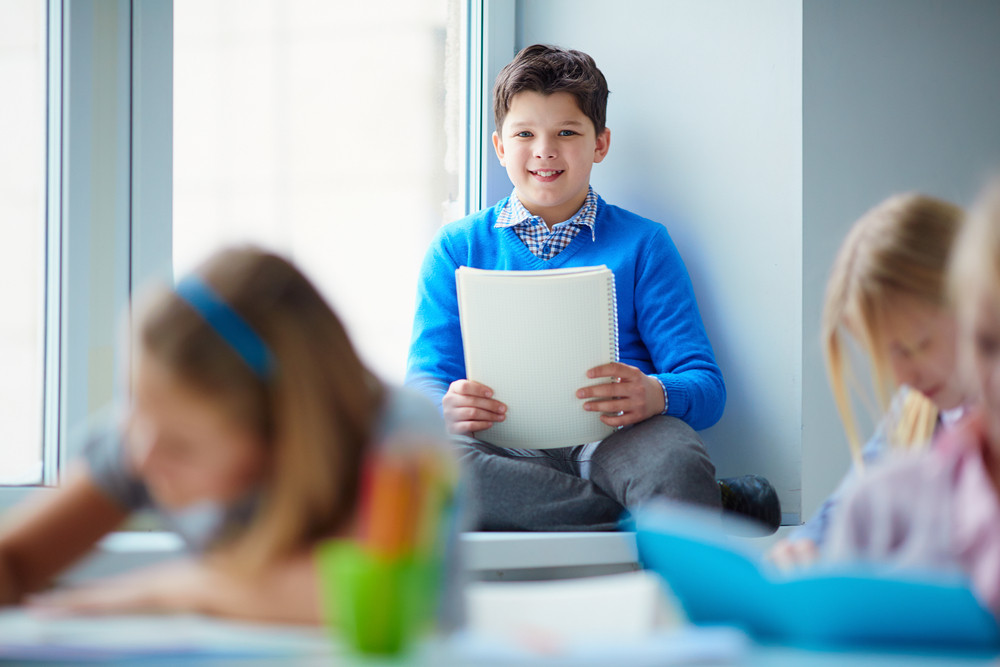 Portrait Of Happy Schoolboy Sitting By The Classroom Window And Looking At Camera With His Classmates Near By