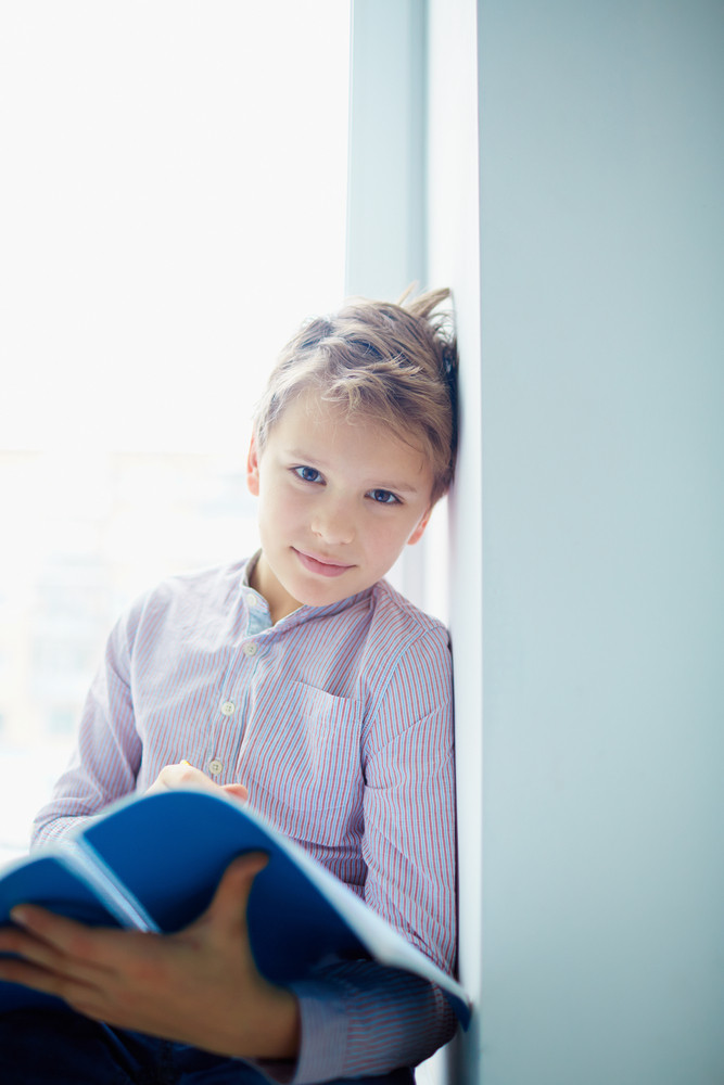 Portrait Of Serious Schoolboy Looking At Camera In Classroom
