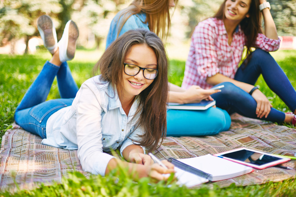 Clever Teenager Making Notes In Park With Her Friends Sitting Behind
