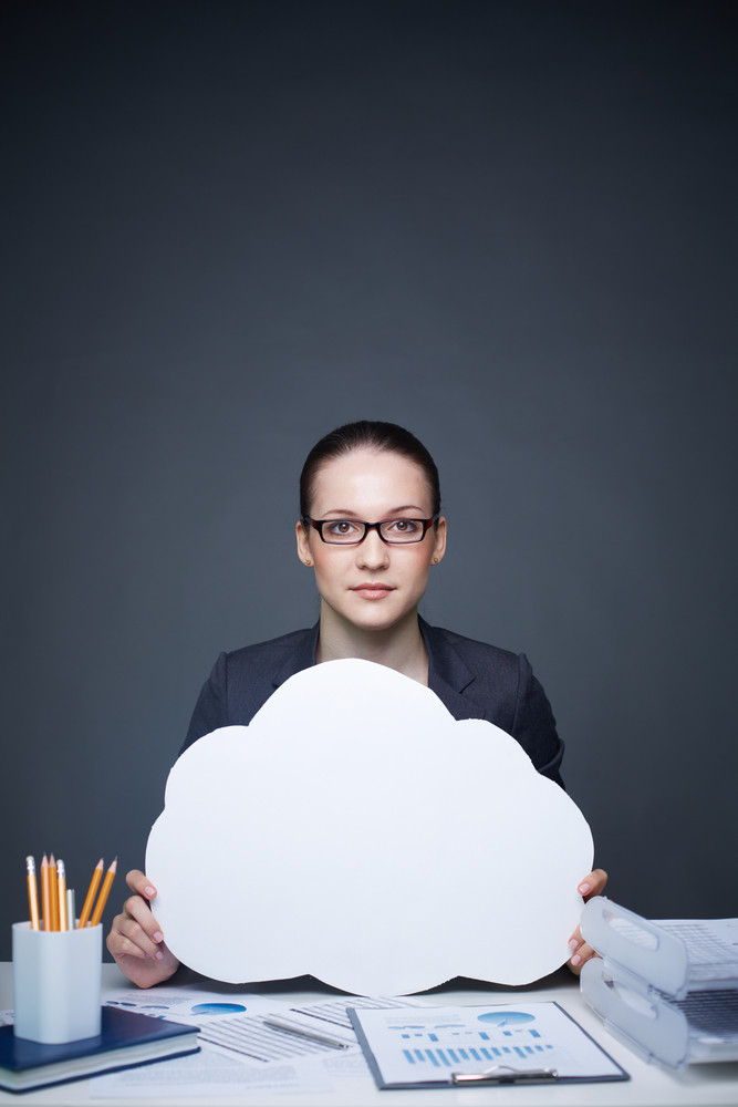 Image Of Pretty Businesswoman In Eyeglasses Holding Blank Paper Speech Bubble