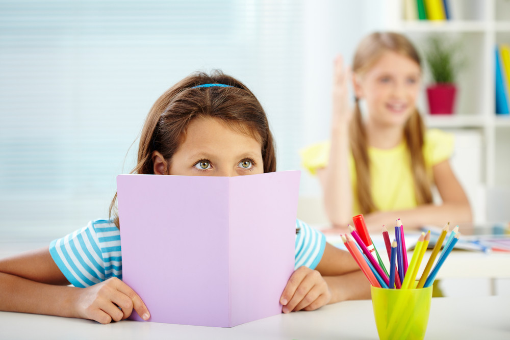 Portrait Of Attentive Girl Listening To The Teacher At Lesson
