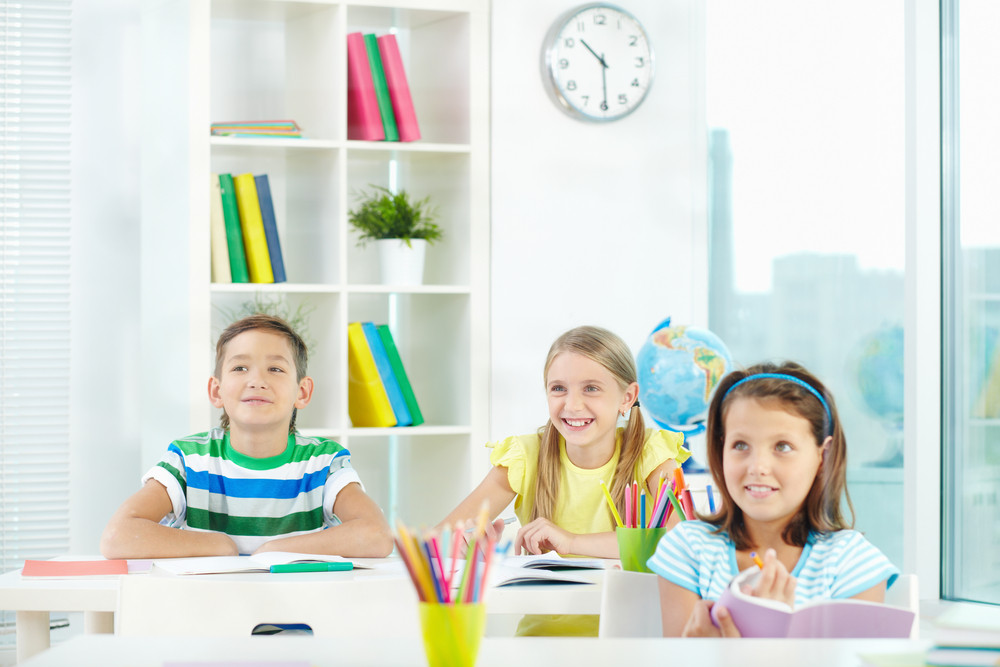 Portrait Of Happy Classmates At Workplace During Lesson