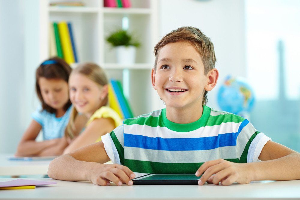 Portrait Of Smart Lad At Workplace Looking At Teacher With His Classmates On Background