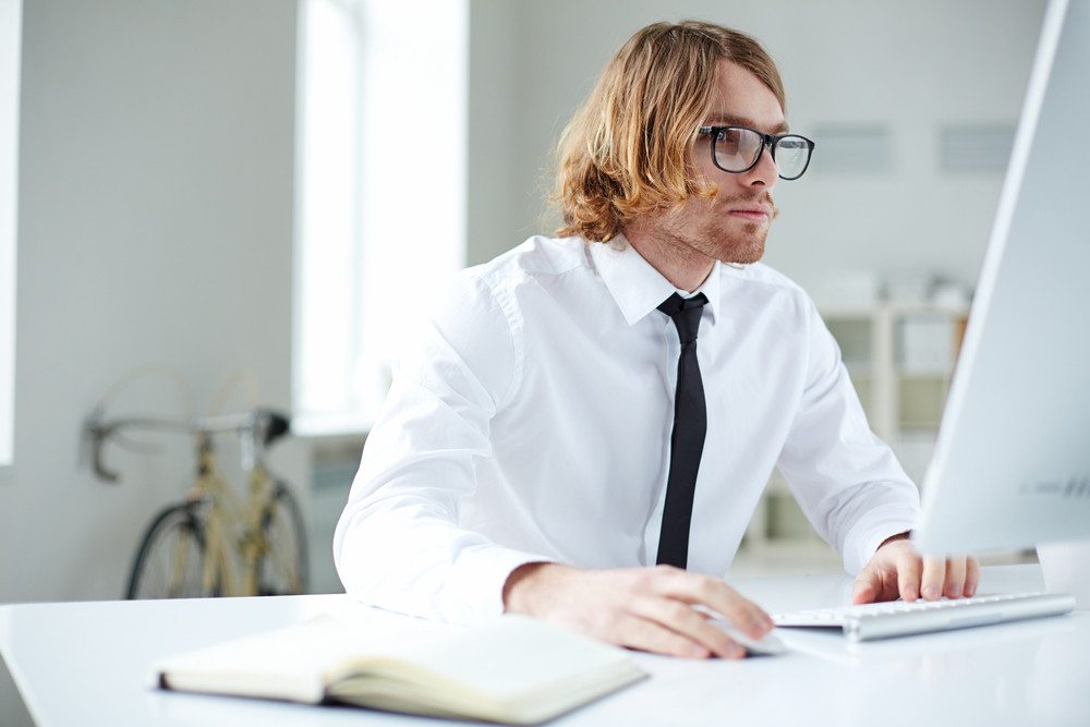 Portrait Of Handsome Businessman Working With Computer In Office
