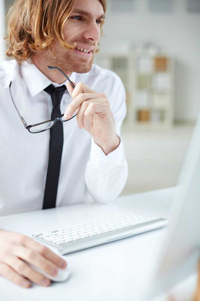 Portrait Of Handsome Businessman Working With Computer