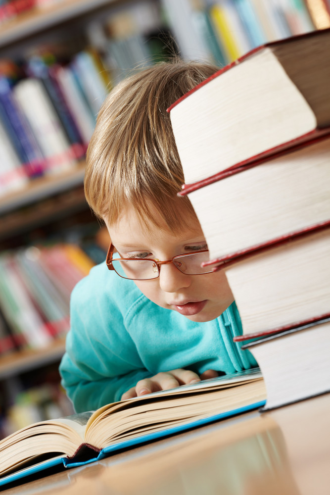 Portrait Of Cute Boy Reading Book In Library