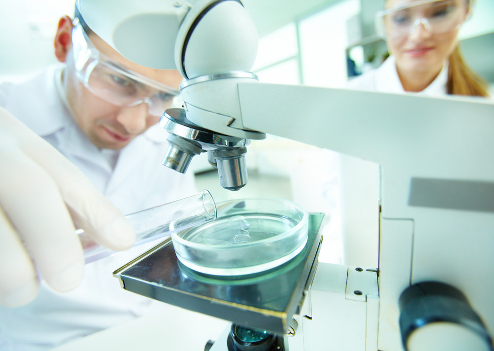 Male Clinician Studying Chemical Element In Laboratory With His Assistant Near By