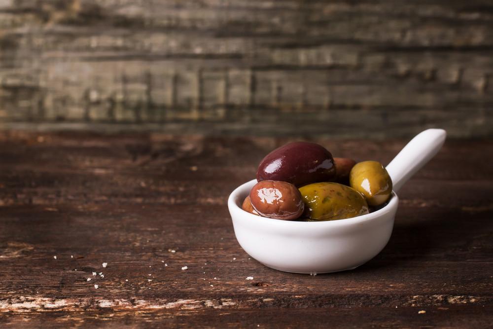 White Bowl Of Olives