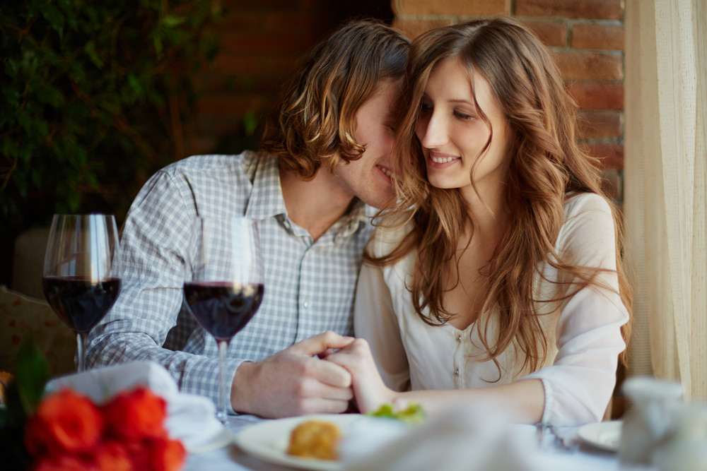 Portrait Of Amorous Young Couple Flirting In Restaurant