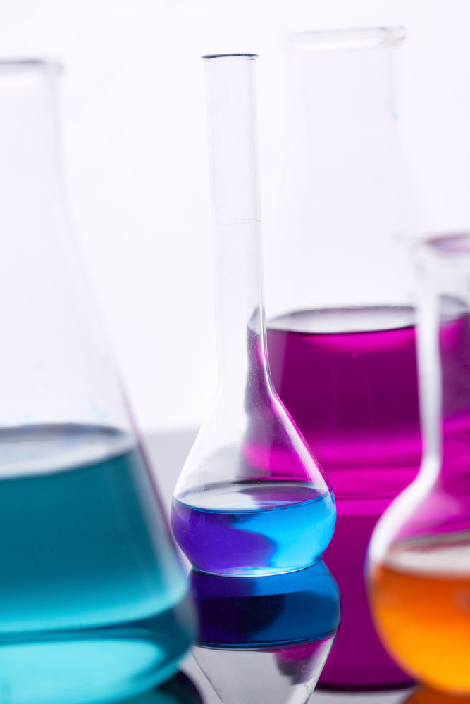 Image Of Several Flasks With Multi-color Liquids
