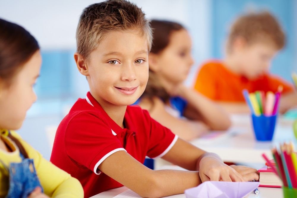 Portrait Of Cute Schoolboy At Workplace Looking At Camera Among His Classmates
