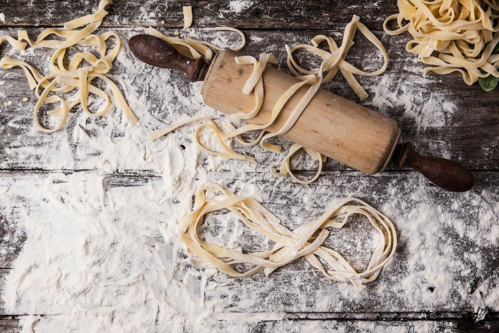 Raw Homemade Pasta With Infinity Symbol
