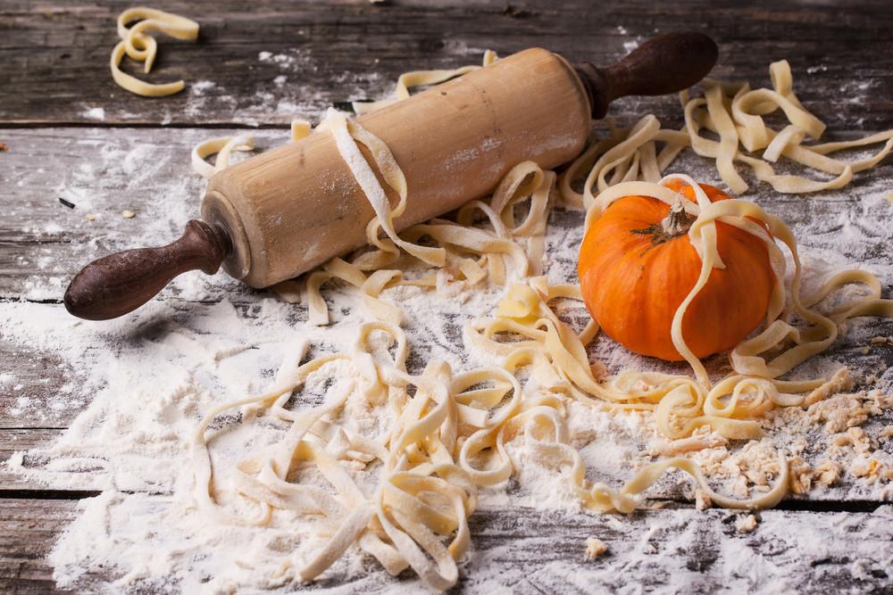Raw Homemade Pasta With Pumpkin