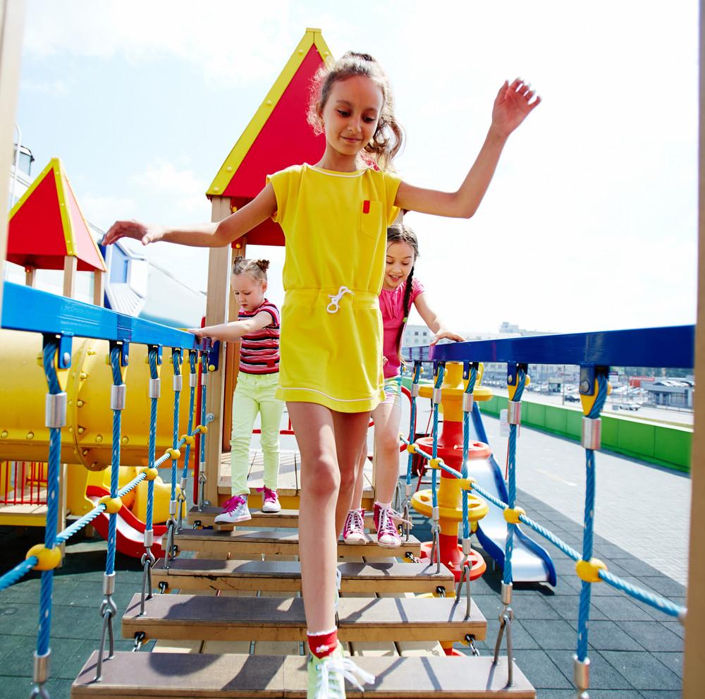Image Of Cute Girls Having Fun On Playground Outdoors