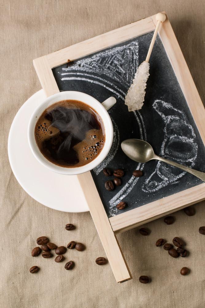Chalkboard With Coffee And Sugar