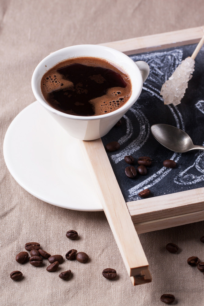 Chalkboard With Cup Of Coffee