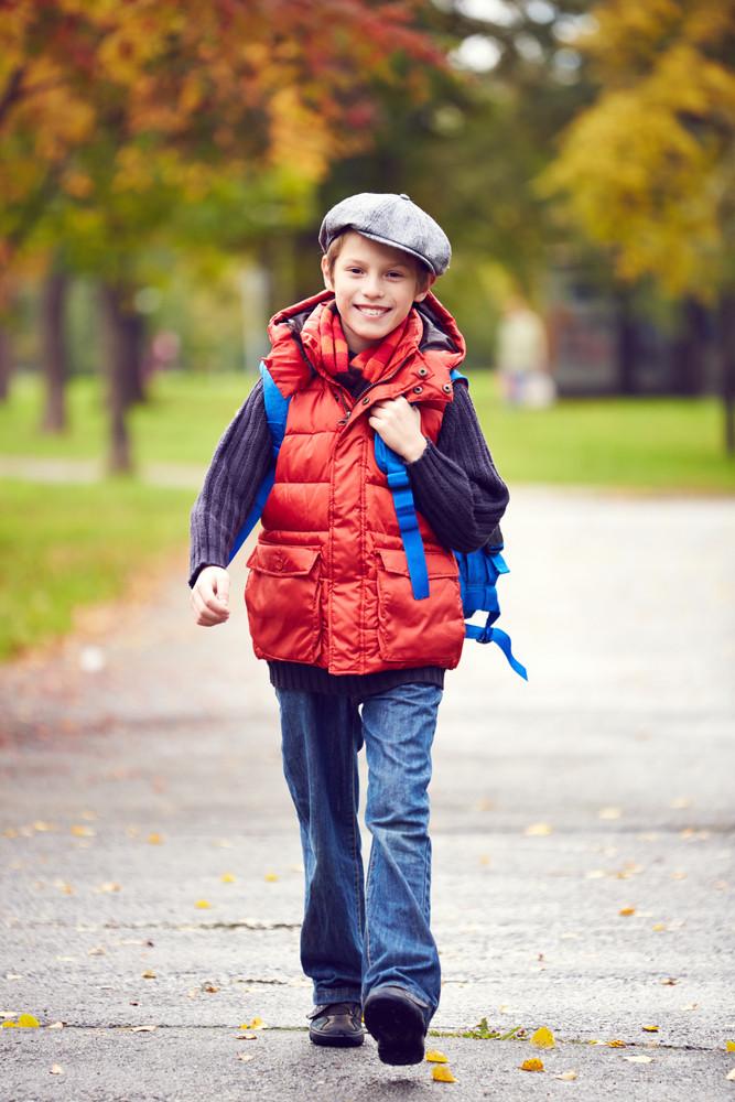 Portrait Of Stylish Schoolboy Going To School