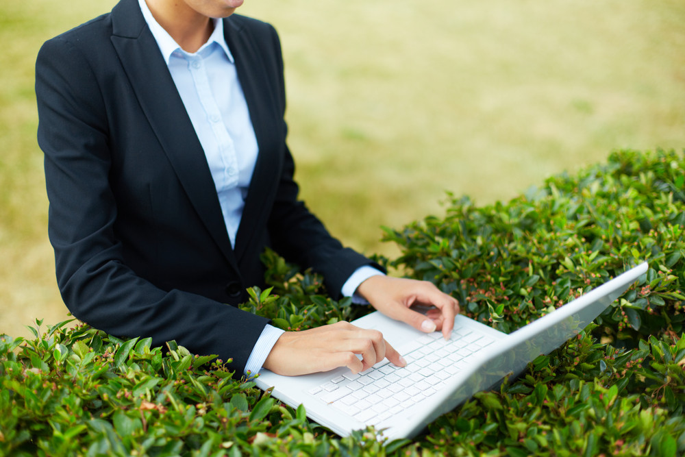 Image Of Businesswoman Typing On Laptop Among Green Leaves