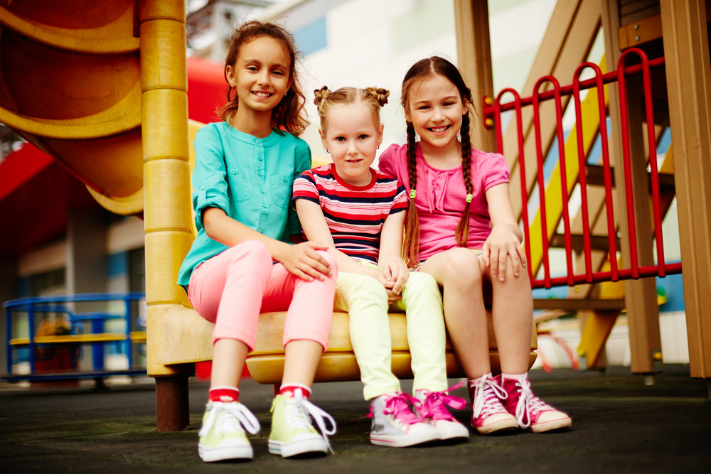 Image Of Cute Girls Spending Time On Playground Outdoors