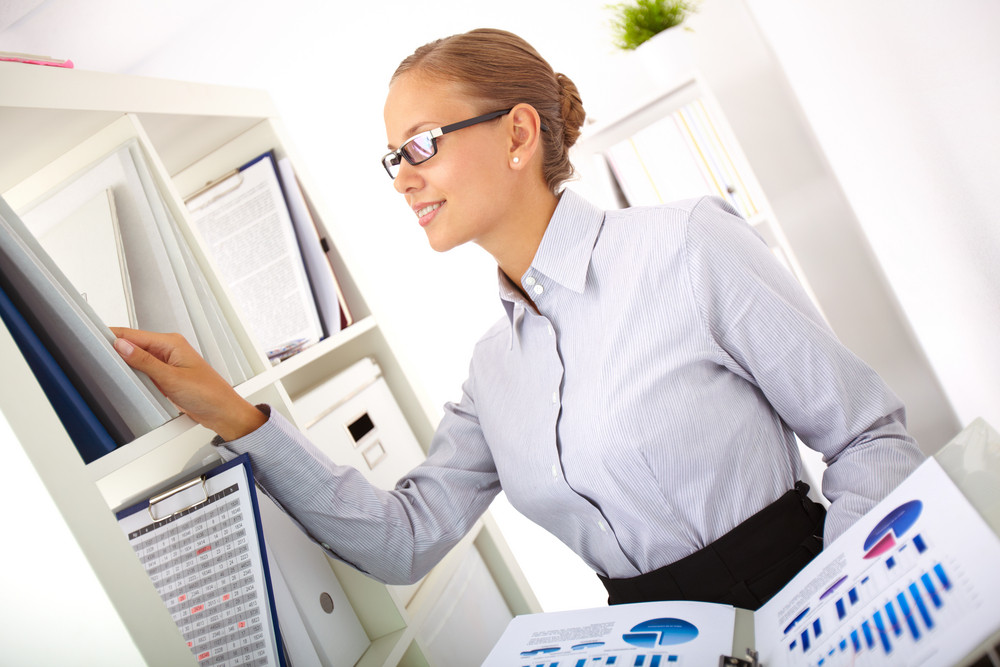 Smiling Business Lady Working With Financial Statistics