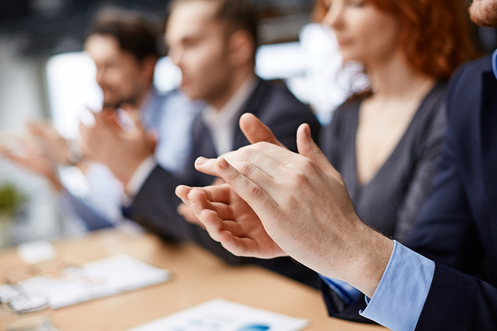 Male Hands Applauding At Conference