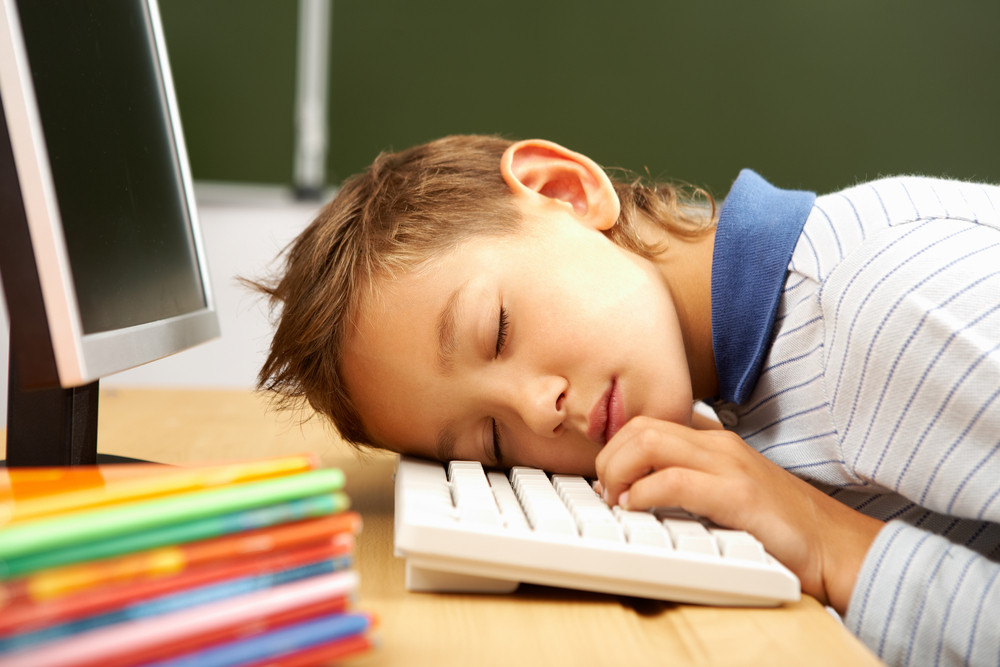 Portrait Of Cute Lad Sleeping With His Head On Computer Keyboard In Classroom