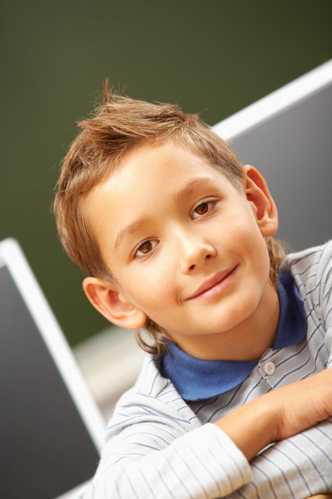 Portrait Of Cute Schoolboy Looking At Camera