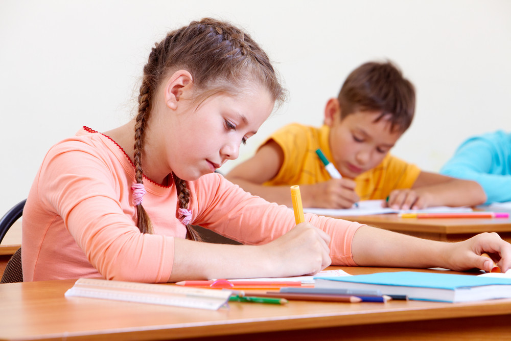 Portrait Of Lovely Girl Drawing In Copybook With Schoolboy On Background