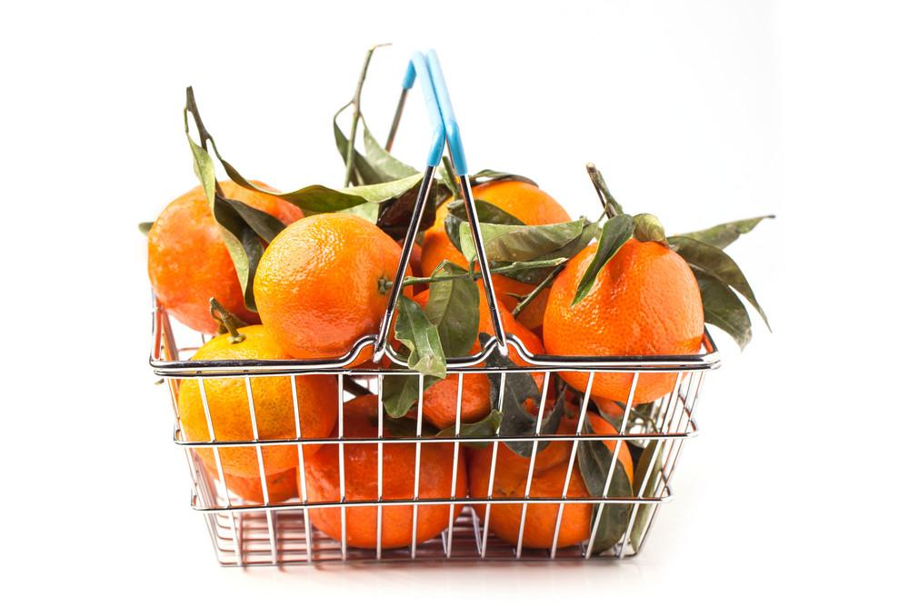 Food Basket Of Tangerines