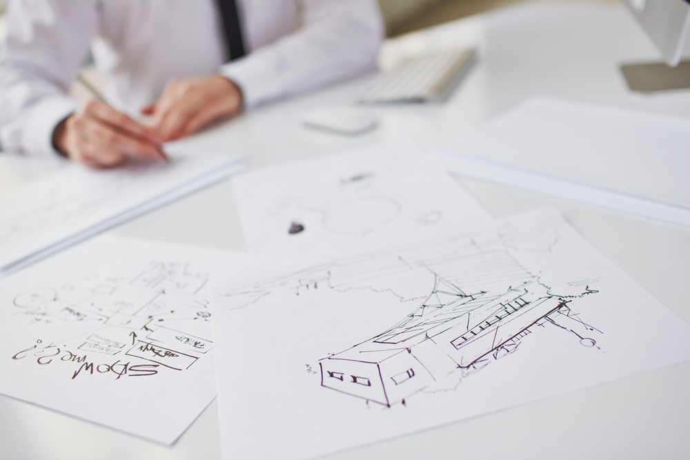 Image Of Sketches At Workplace