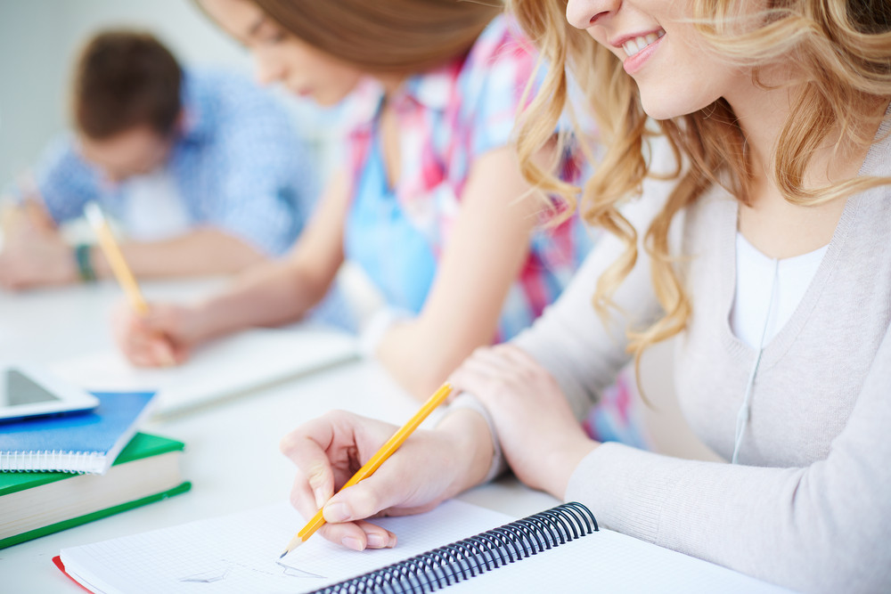 Smiling Girl And Her Groupmates On Background Carrying Out Written Task At Lesson