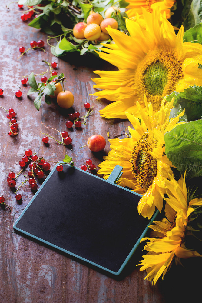Sunflowers With Chalckboard