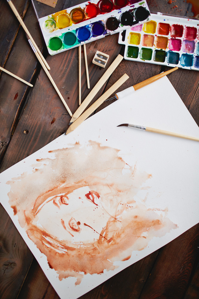 Picture Of Young Beautiful Female Painted By Water-color