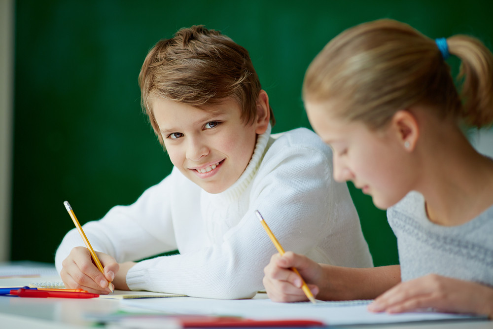 Portrait Of Cute Schoolboy Looking At Camera While Drawing At Lesson With His Classmate Near By