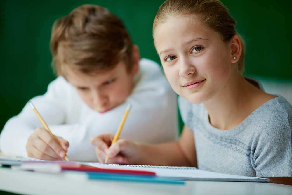 Portrait Of Cute Schoolgirl Looking At Camera While Drawing At Lesson With Her Classmate On Background