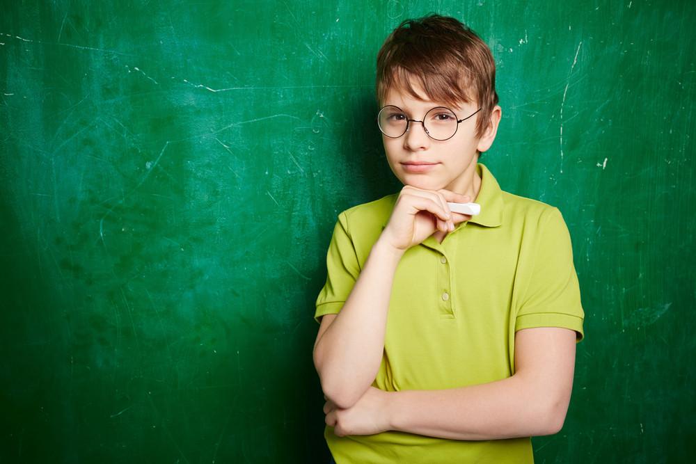 Portrait Of Cute Schoolboy In Eyeglasses Looking At Camera By The Blackboard
