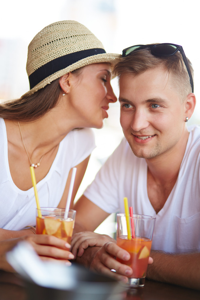 Happy Guy And His Girlfriend Spending Time In Cafe On Summer Day
