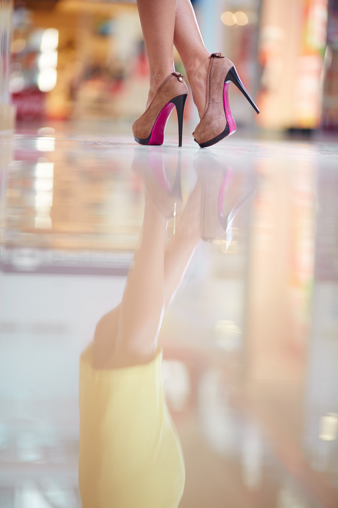 Image Of Glamorous Lady Legs In High-heeled Shoes