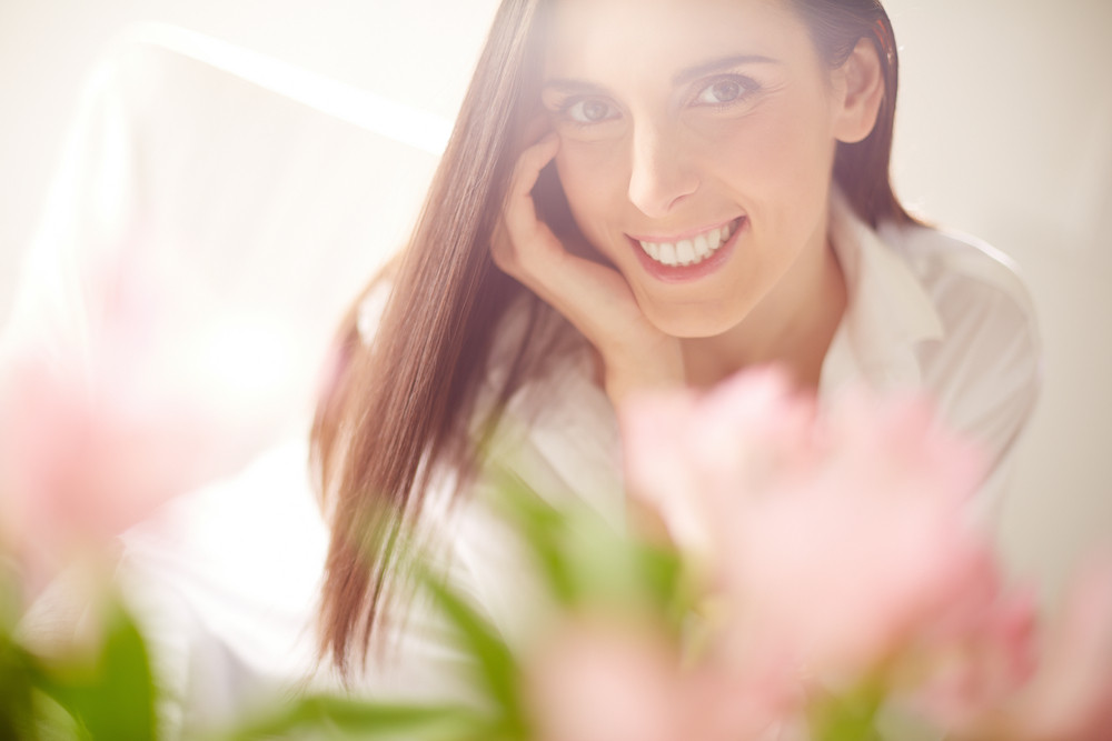 Portrait Of Lovely Lady Looking At Camera With Toothy Smile