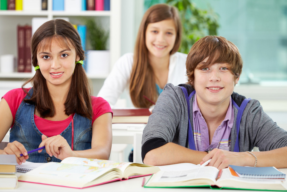 Portrait Of Smart Classmates Looking At Camera During Lesson