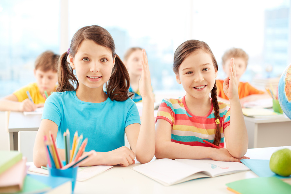 Portrait Of Two Diligent Girls Raising Hands At Workplace With Classmates On Background