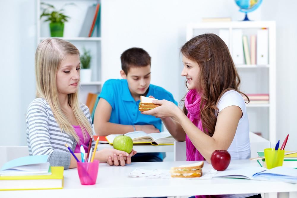 Cute Girl Offering Her Friend Sandwich During Break In College