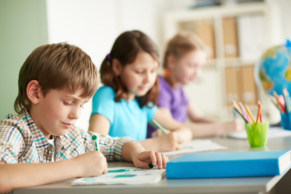 Portrait Of Cute Schoolboy Drawing At Workplace During Lesson