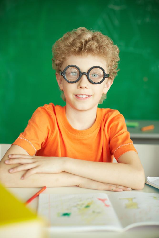 Portrait Of Happy Schoolboy In Eyeglasses Looking At Camera