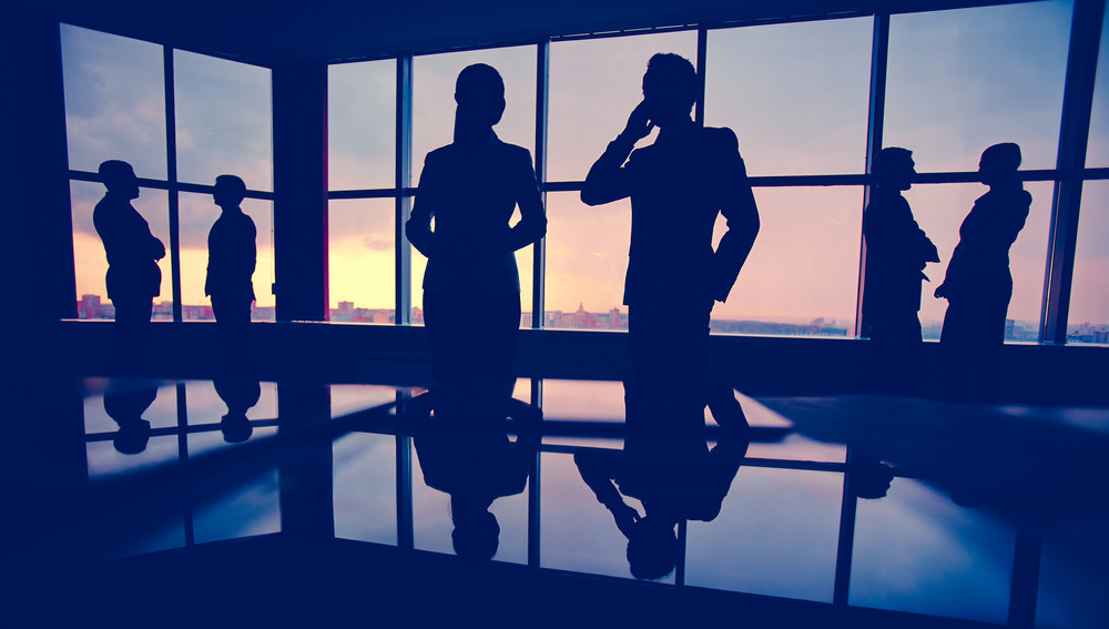 Silhouettes Of Several Colleagues Communicating In Office